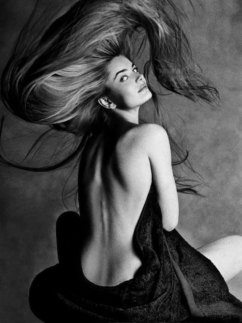 Paulina Porizkova by Marco Glaviano -- Boudoir - Portrait - Fashion - Editorial - Movement - Hair - Black and White - Photography - Pose