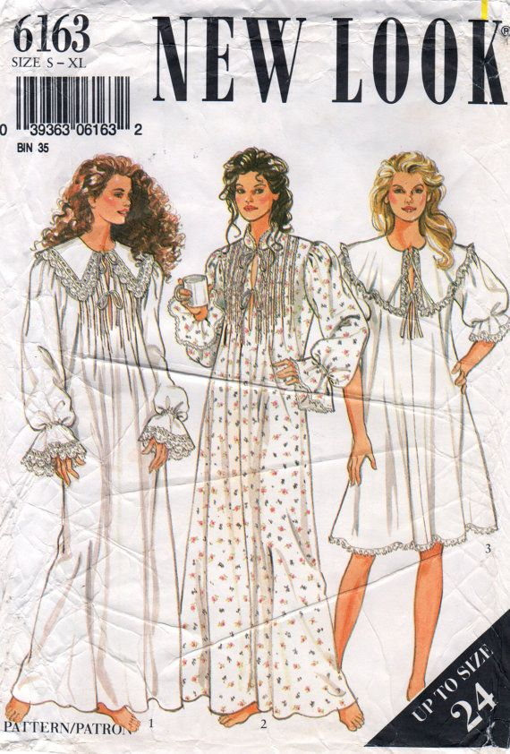 New Look 6163 80s Misses Victorian Style Nightgown two lengths womens romantic vintage sewing pattern by mbchills