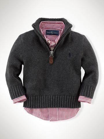 Half-Zip Cotton Pullover - Infant Boys Sweaters - RalphLauren.com