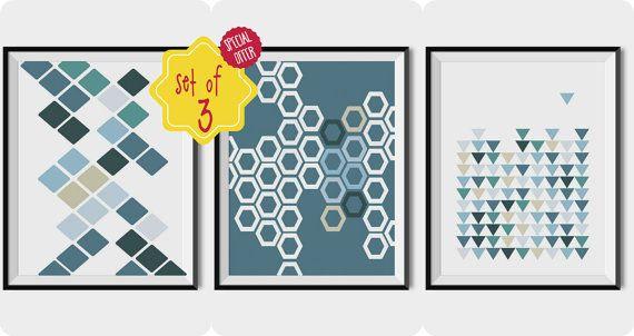 SCANDINAVIAN SET OF 3, Printable geometric wall art, Blue shapes prints, Set wall decor, Set o f three posters, Nordic home decor, Wall art