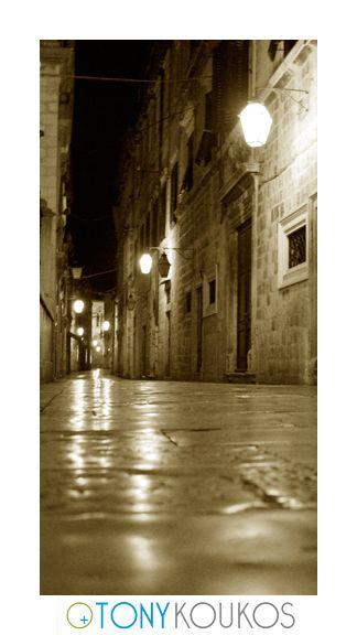 street, narrow, lanterns, windows, doorways, night, dubrovnik, croatia, europe, travel, photography, art, Tony koukos, places
