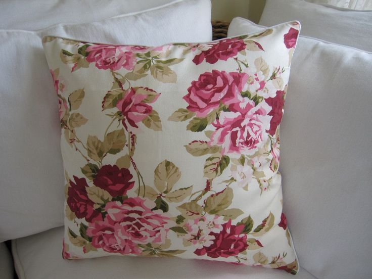 Shabby chic home-Country style 2 pcs decorative throw pillow, 18 inch, sofa couch cushions, cabbage pink rose print