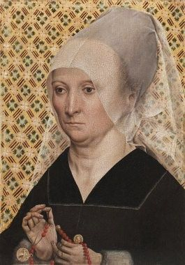 5.Master of the Holy Kinship, Portrait of a Lady, 1485  *Upper class V-neckline,veil, high forehead.