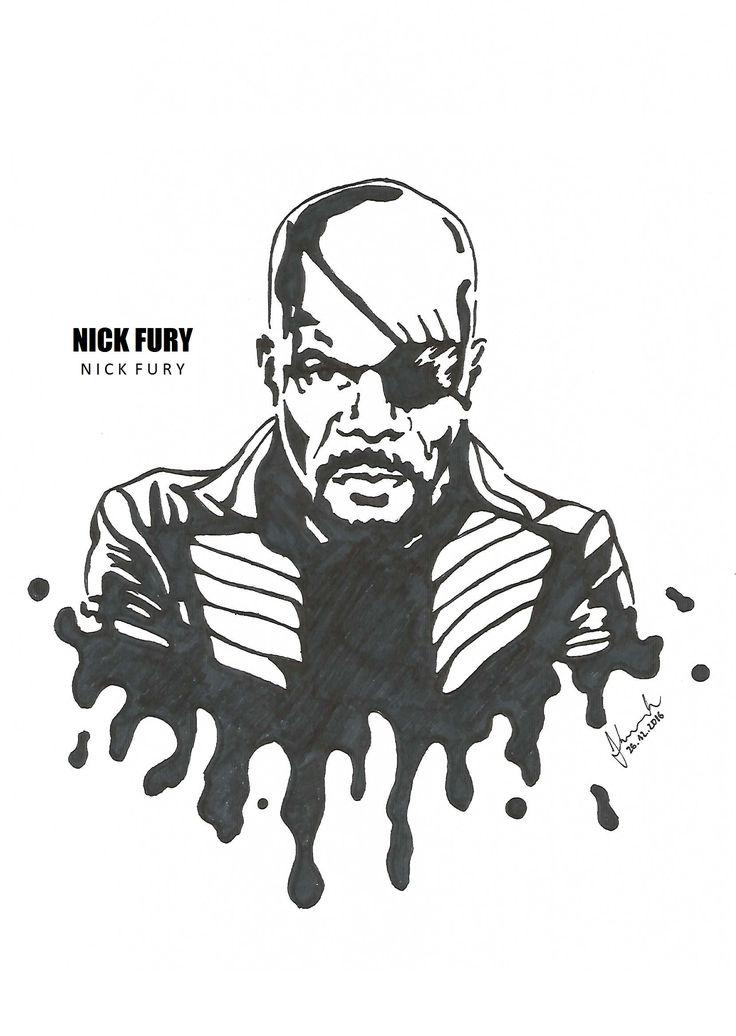 #nick #fury #samuel #l #jackson #drawing #blackandwhite #marvel #avengers