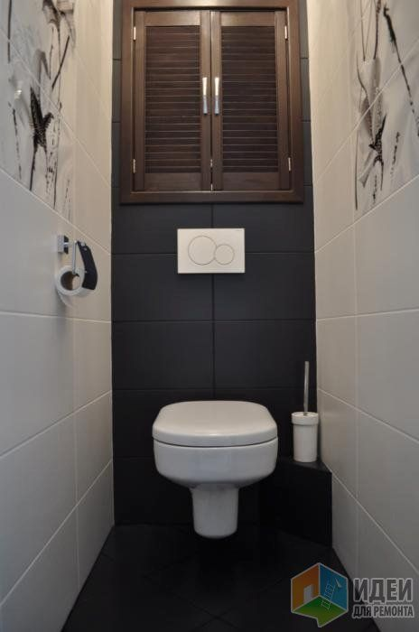 Интерьер санузла, серая плитка в санузле, подвесной унитаз, встроенная клавиша смыва, Геберит