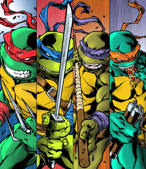 Teenage Mutant Ninja Turtles..... notice mike eating pizza ....yeah ....