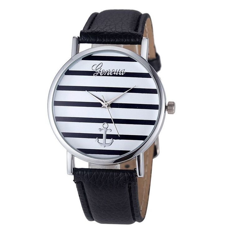 Geneva Watch Women Striped Anchor Analog Leather Anchor watches women luxury brand montre Trendy404