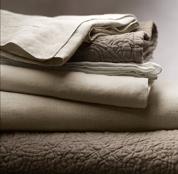 Vintage-Washed Belgian Linen Quilt & Sham | Quilts & Coverlets | Restoration Hardware