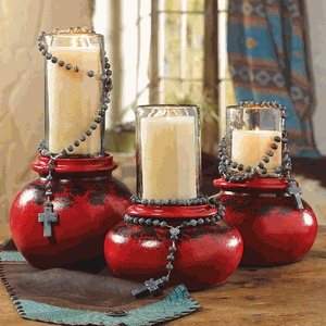 Artisan Pottery Candle Holders and Blue Onyx Rosary
