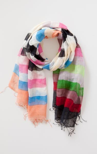 schön bunt: Colors Scarfs, Colors Stripes, Colors Scarves, Pretty Colors, Cute Scarfs, Scarfs Ideas, Pretty Linens, Colour Scarfs, Multicolored Scarfs
