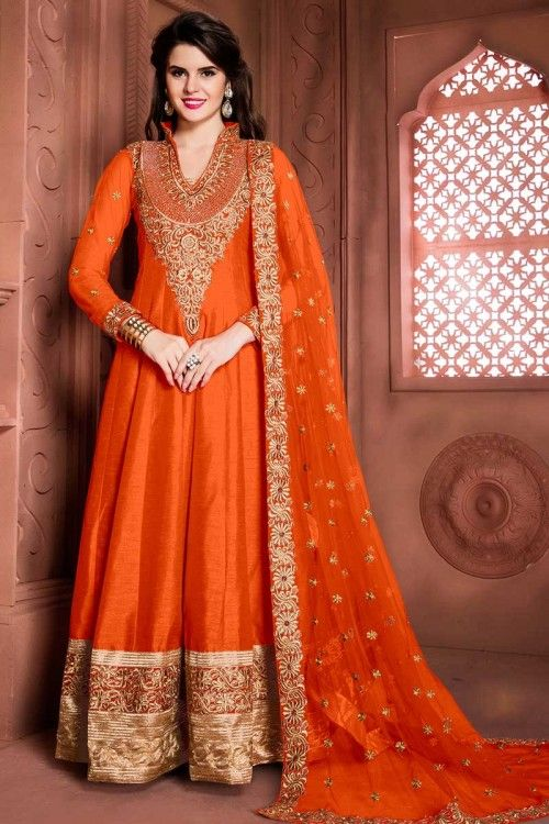 Orange Banglori Soie Anarkali Churidar Suit Avec Brodé Dupatta en ligne   http://www.andaazfashion.fr/salwar-kameez/anarkali-suits