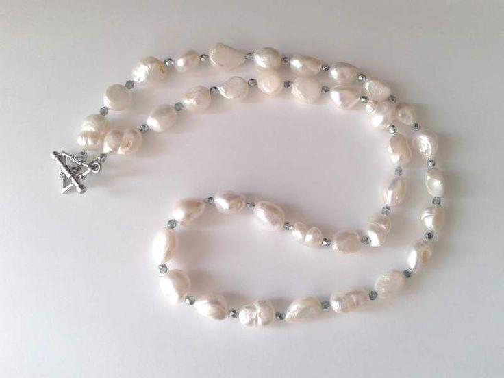 collana handmade grosse perle Barocche bianche