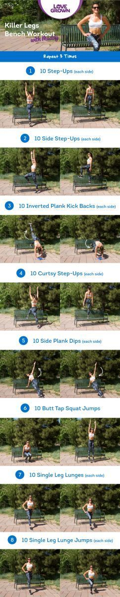 Obsessed with this KILLER LEGS Workout! Do it anywhere -- at a park bench, at the gym, or even on a chair at home! Build strong, beautiful, lean legs with one of my favorite go-to Fit Friday workouts!