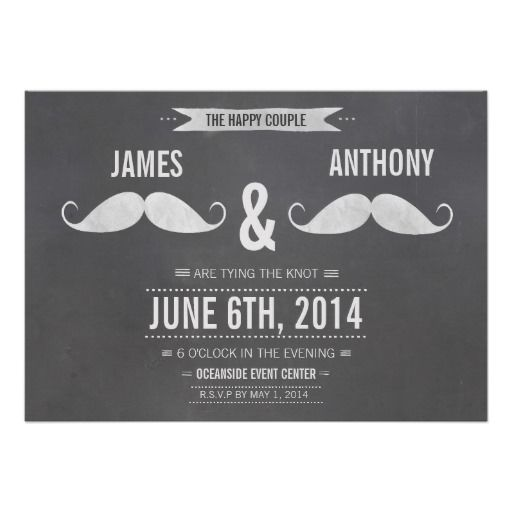 #Gay Wedding #Moustache Chalkboard Invitation. Wedding Invitation For The  Misters. Design Has