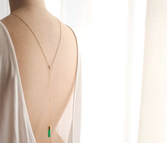 j a d e - Back Necklace - 18K Gold Plated - Jade Stone Pendant - Green on Etsy, $76.43 #makeme