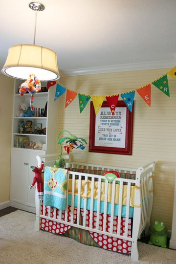 so colorful!: Colors Nurseries, Socks Monkey, Apartment Therapy, Baby Ideas, Cribs Skirts, Colorful Nursery, Baby Rooms, Bright Colors, Kids Rooms