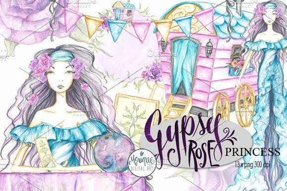 Gypsy Clipart Watercolor by Monique Digital Art on @creativemarket
