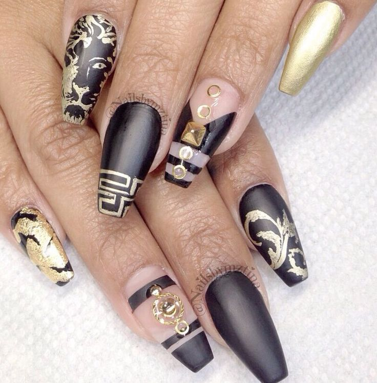 94 best african inspired nails images on pinterest africans love the design and the mate black with gokd looks niice especially the lions head and the details prinsesfo Images