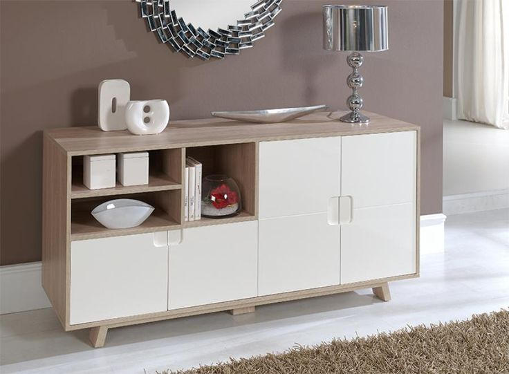 Luxury Modern Semi Gloss White and Oak Sideboard with Doors