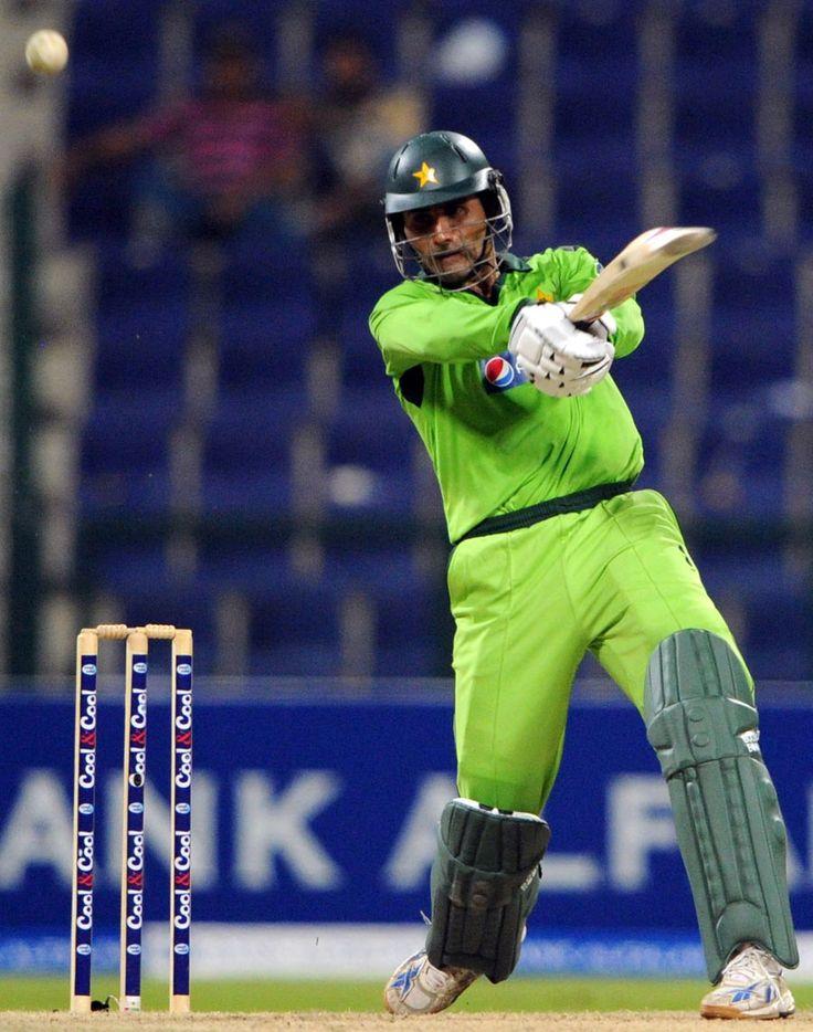 Abdul Razzaq blasts the ball down the ground