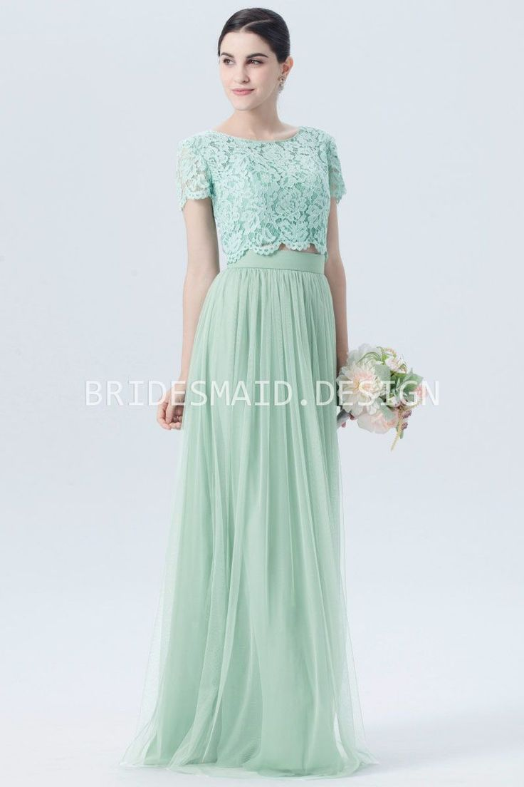 pastel green lace tulle short sleeves buttons bridesmaid dress
