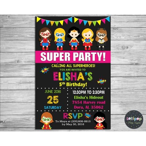 Boy and Girl Superhero Party Personalised Invitation - Printed Ship Worldwide  http://www.lollipoppartysupplies.com.au/superhero-party-personalised-invitation-printed~1502