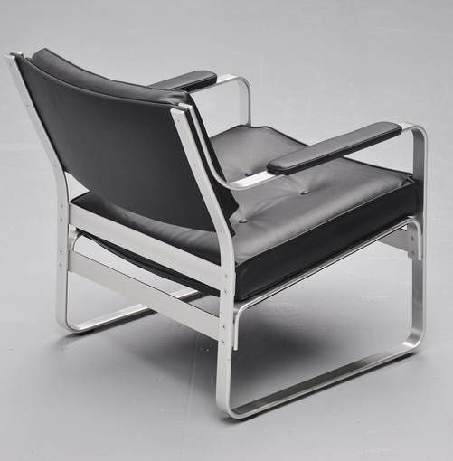 Karl-Erik Ekselius; Polished Aluminum and Leather Lounge Chair for J.O. Carlsson Mobler, 1965.