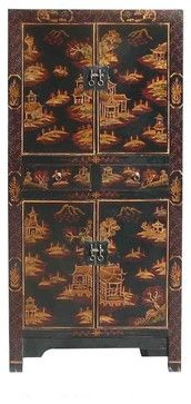 Chinese Golden Mountain & Villa Graphic Black Wooden Cabinet asian-storage-cabinets