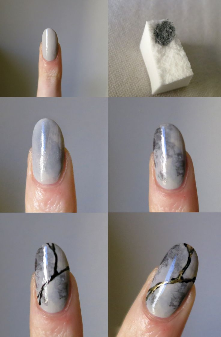 Tutorial: Kintsugi Nails Here's how I did this design— it's actually pretty simple. You'll need a couple of shades of gray polish, black polish or acrylic paint, metallic polish or paint, a makeup...