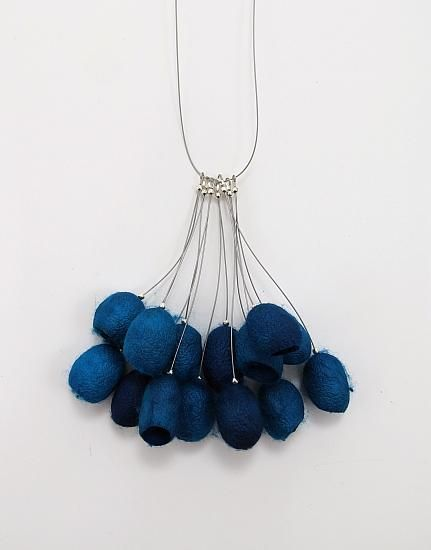 Cocoon Necklace made with dyed silk moth cocoons, steel, plastic, silver plate by  Robin Gordon Carbondale, Illinois