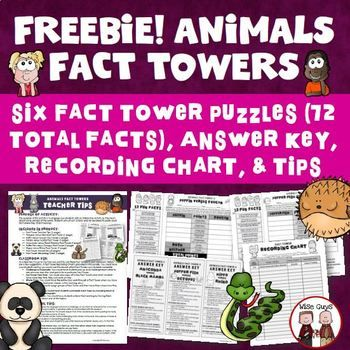 5-7 FREE interactive activity about animals of the world. Students will cut out 12 facts and will be asked to paste each fact where they think it belongs. Included in this product is:- Fact Tower Teacher Tips (1-page)- Platypus versus Wombat Fact Tower (1-page)- Puffin versus Toucan Fact Tower (1-page)- Panda versus Gorilla Fact Tower (1-page)- Anaconda versus Black Mamba Fact Tower (1-page)- Puffer Fish versus Octopus Fact...