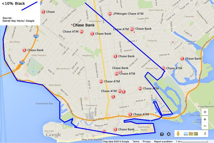 Chase Bank locations in a <10% Black area of Brooklyn (Map Credit: Google)