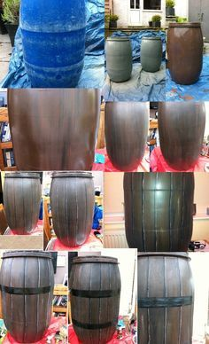 Transforming a plastic barrell, done for my daughters school musical. I did 2 of these as props for a pirate scene. 2013.