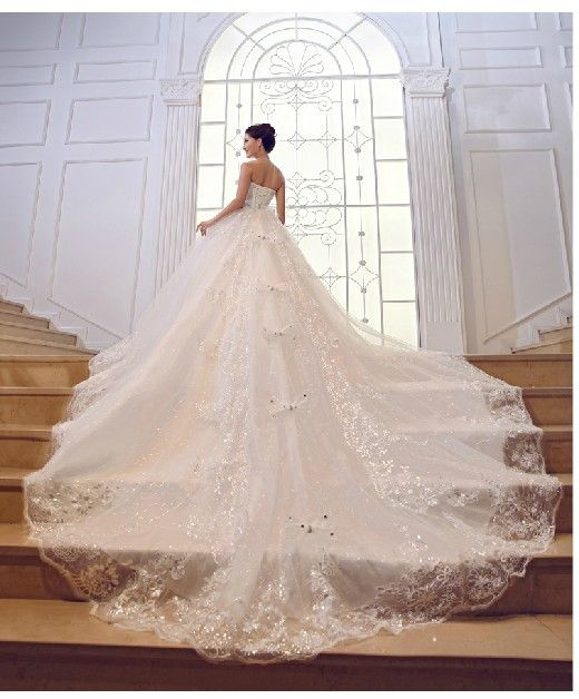 Trendy  sparkling rhinestone Luxury Lace Up Organza Cathedral Train Wedding Dresses Bride Dress