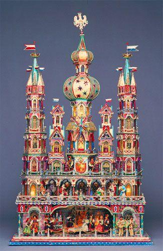 - Nativity Scenes, Szopka,-Xmas crib made from card and paper in Krakow Poland
