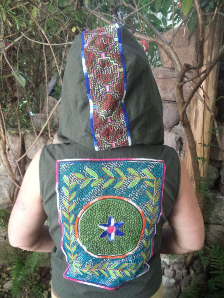 Ayahuasca Visions, Cowl hooded  waistcoat Burning Man/Shamanic/Steam punk/Tribal/woodland/psycadellic/psytrance/goth/electronic/cyberdog W15 by Shakruna on Etsy