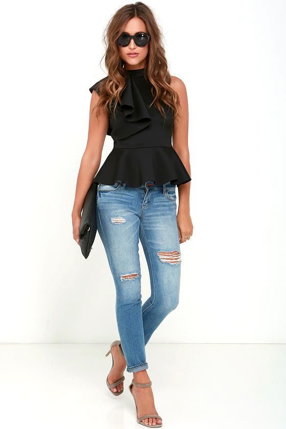 It's incredible how unforgettable you will be in the Forever More Black Peplum Top! Poly-spandex, medium-weight knit hugs your silhouette from a mock neck, through a sleeveless bodice decorated with a cascading side ruffle. A peplum tier flares from the fitted waist for a flirty finish. Exposed silver back zipper.