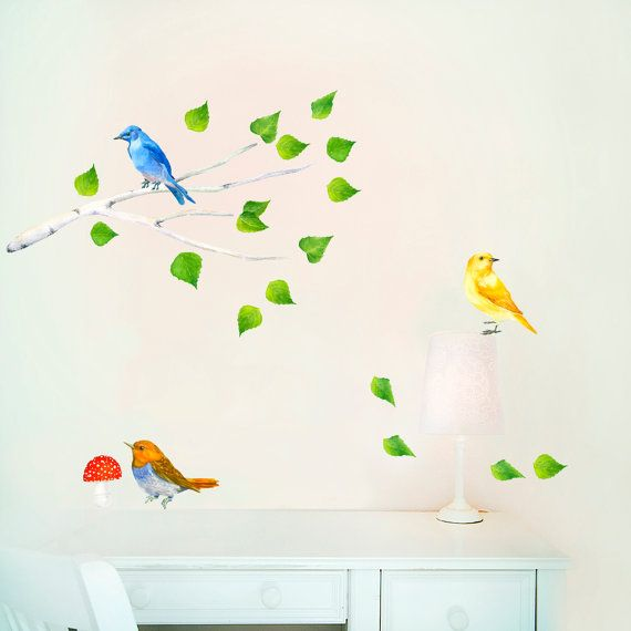 Branch Wall Decal, Nursery Woodland Art, Birds Wall Decals, Birds on Branch, Forest Mural, Baby Room Decals, Nursery Wall Murals  Birds on Branch wall decals. Removable, repositionable and reusable many times! PVC free fabric wall stickers. Gorgeous addition to any nursery, playroom or any other room.  -------------------------------------------------------------------------------------------------------  Size:  All stickers together on one sheet of backing paper 47 x 26cm or 18.50 x 10.23…