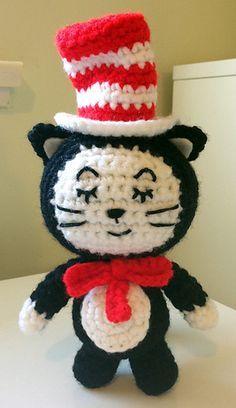 #crochet, free pattern, Ravelry, amigurumi, cat in the hat, stuffed toy, #haken, gratis patroon (Engels), kat, boek, knuffel, speelgoed, #haakpatroon