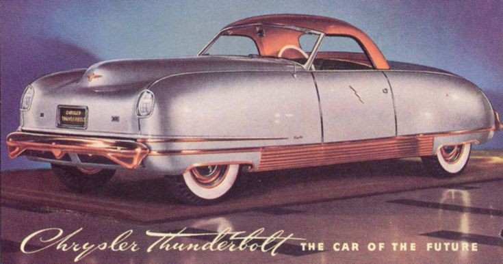 """1941 Chrysler Thunderbolt.Designed by Alex Tremulis, who also did the Tucker. Five of these wonderful show car were built for Chrysler.  It was dubbed """"The Car of the Future"""" and was an aluminum envelope-bodied, flush-fendered coupe with a fully retractable, electrically controlled hardtop.  Pushbuttons operated the doors (there were no door """"handles"""") and it even sported hydraulic power windows.  The totally enclosed front and rear wheel wells was also a new design concept."""