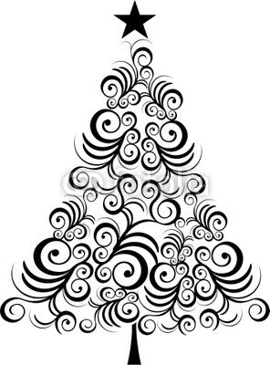 Wall mural christmas tree black outline - christmas • PIXERSIZE.com
