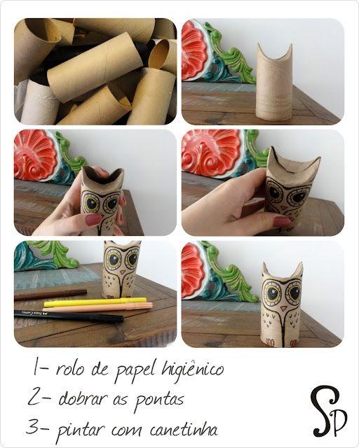 Buhos hechos con rollos de papel higiénicos gastados / Owls made from spent toilet paper rolls