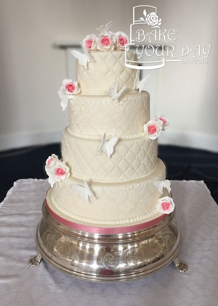 Damask & Quilt Effect Wedding Cake enquiries@bake-your-day.co.uk