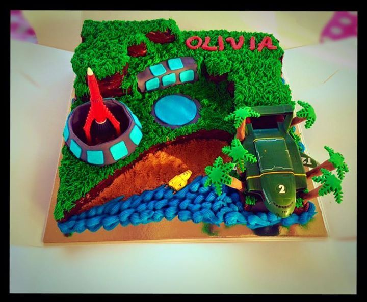 Thunderbirds Tracey Island cake
