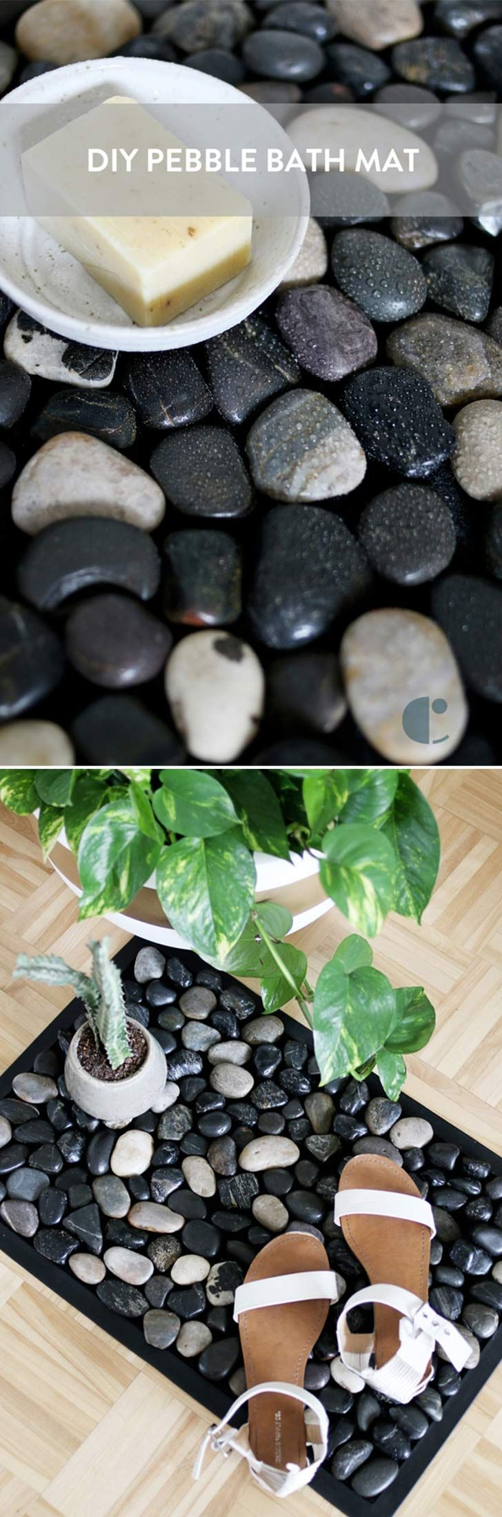 DIY pebble bath mat. Click on image to see more DIY ideas and crafts for your home.