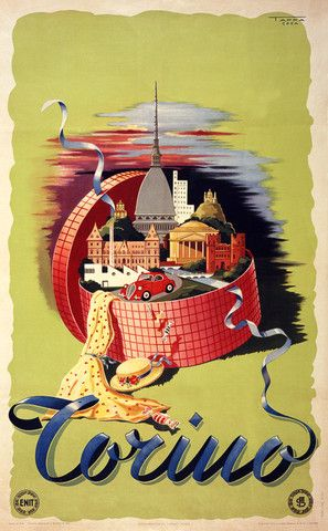 Torino, Italy. The city of Turin, Italy sits in a bright hat box in this vintage travel poster, c. 1949.