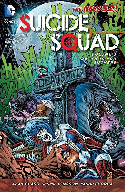 The Suicide Squad returns with an action packed tie-in to the Batman  Death of the Family  story!    As the Suicide Squad closes in on Basilisk leader Regulus, Deadshot and Harley discover multiple Basilisk sleeper agents within their ranks.  Regulus makes one final desparate gamble to save himself by controlling Harley's mind, but Deadshot makes the ultimate sacrifice for his teammate.  Harley's lost  love  the Joker casts a poisonous rain over Deadshot's funeral, leaving only Ha...