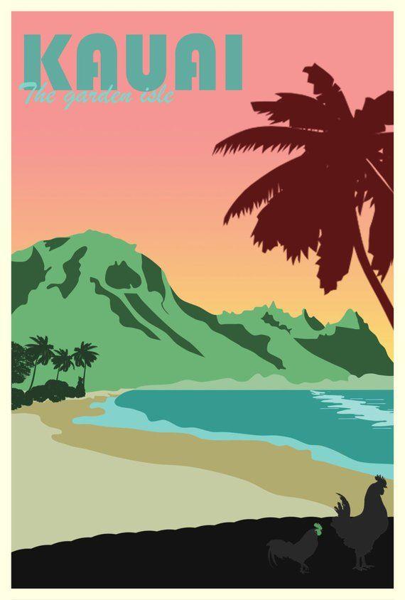 Kauai Poster, Kauai Travel Poster, Hawaii Poster, Hawaii Art, Summer