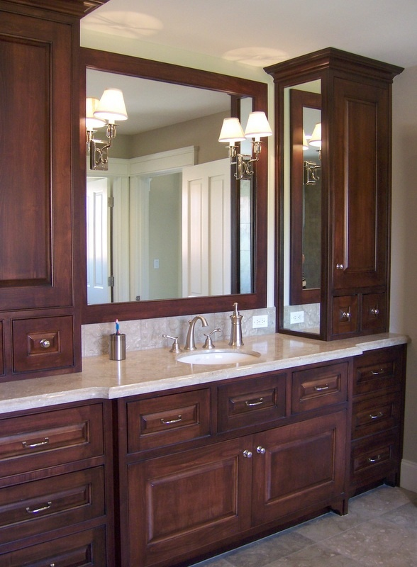 Master Bath One Sink With Two Side Storage Cabinets