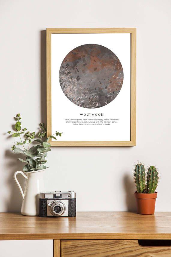 Full 'Wolf Moon' art print. Native American Boho